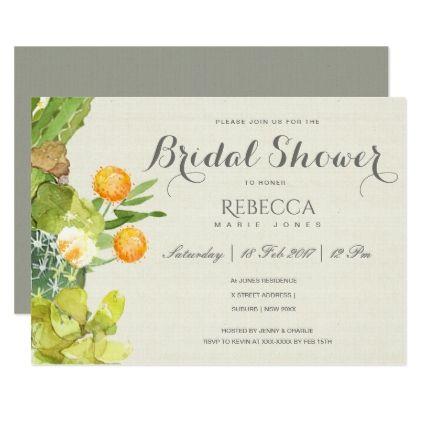 SUCCULENT CACTUS FLORAL GARDEN Bridal Shower Card - spring wedding diy marriage customize personalize couple idea individuel