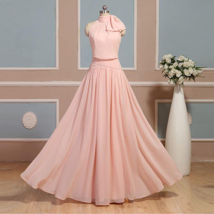 Blush Pink Long Cheap Bridesmaid Dresses Uk, Prom