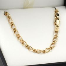 55cm Yellow Gold Oval Figaro Chain Necklace - GN-OF81