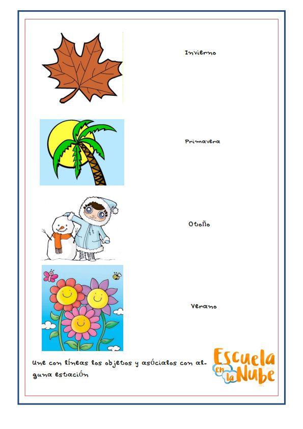 Estaciones Del Ano Primavera Verano Otono Invierno Fichas Infantil Estaciones Del Ano Estacionamiento Fichas