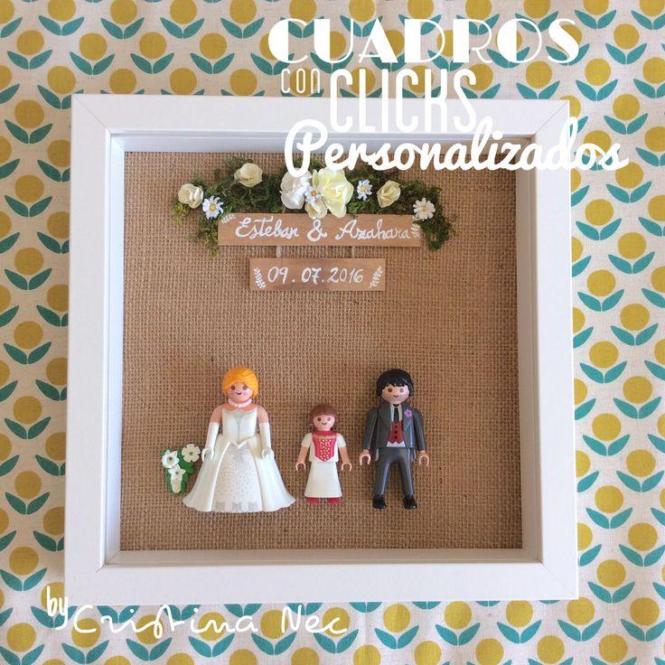 Cuadro para regalo Playmobil boda