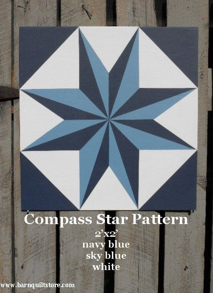 barn quilt patterns to paint | Painted Wood Barn Quilt Compass Star Pattern by TheBarnQuiltStore