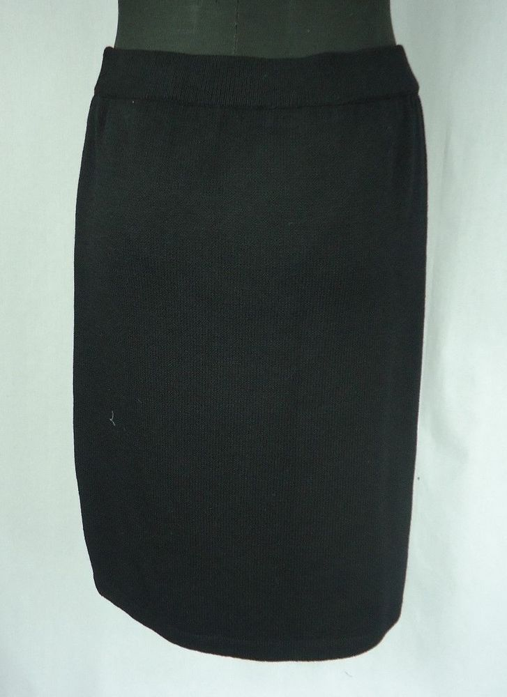 ST JOHN BASICS Black Skirt Size 10 Knit Wear To Work #StJohn #StretchKnit
