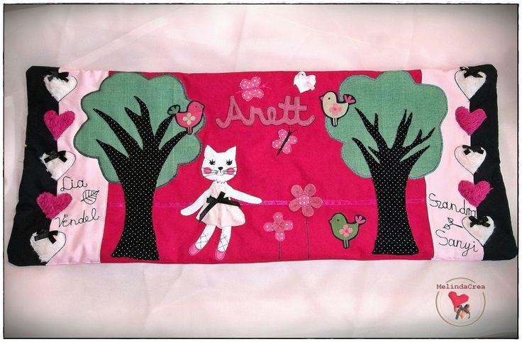Girl Pillow: kitten, flowers, birdies, butterflies, hearts, bows ... ~ handmade by MelindaCrea