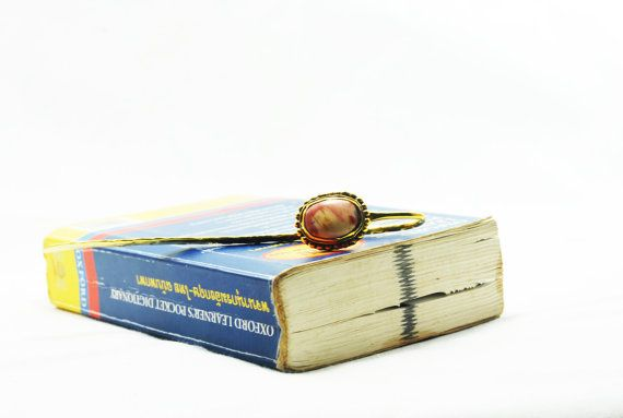 Bookmark brass and Mookaite Jasper by SouvenirsAtChiangMai on Etsy