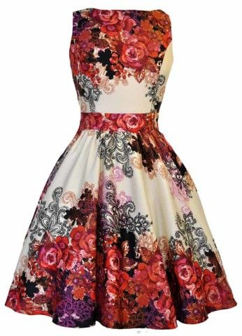 Red Rose Floral Cream Tea Dress : Lady Vintage