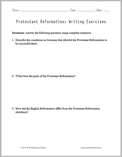 essay questions on the reformation Although erasmus laid the foundations for luther's reformation, he did not break   some questions in the church he considered inessential to salvation, so he.