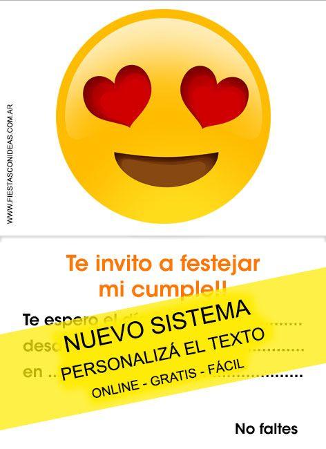 Emoji In Love / Emoji Enamorado - Tarjeta de cumpleaños para imprimir personalizable