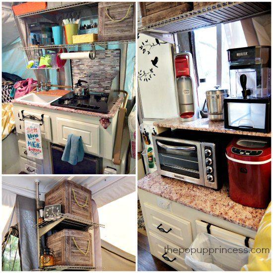 682 best popup camper ideas images on pinterest for Pop up camper interior designs