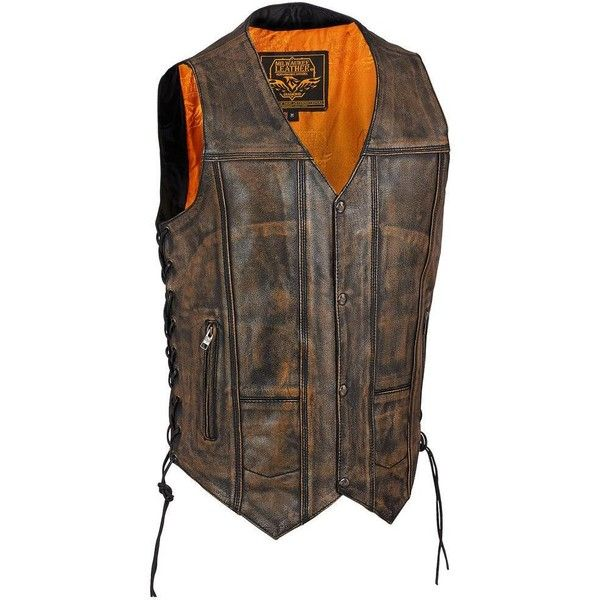 Milwaukee Leather Side Lace Leather Vest w/ Snap Front ($100) ❤ liked on Polyvore featuring men's fashion, men's clothing, men's outerwear, men's vests, mens slim vest, mens vest, mens slim fit vest, mens vest outerwear and mens leather vest