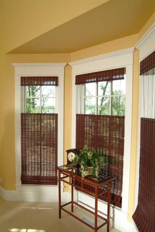 95 best images about living room window treatments on for Bay window shades and blinds