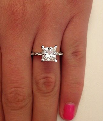 details about 262 ct princess cut dvs1 diamond solitaire engagement ring 14k white gold - Square Cut Wedding Rings