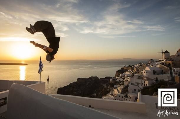 Stay on the edge! #Santorini's wide range of #activities may surprise you! http://goo.gl/W5Dqkc  Photo by: Red Bull Art of Motion #ArtMaisons
