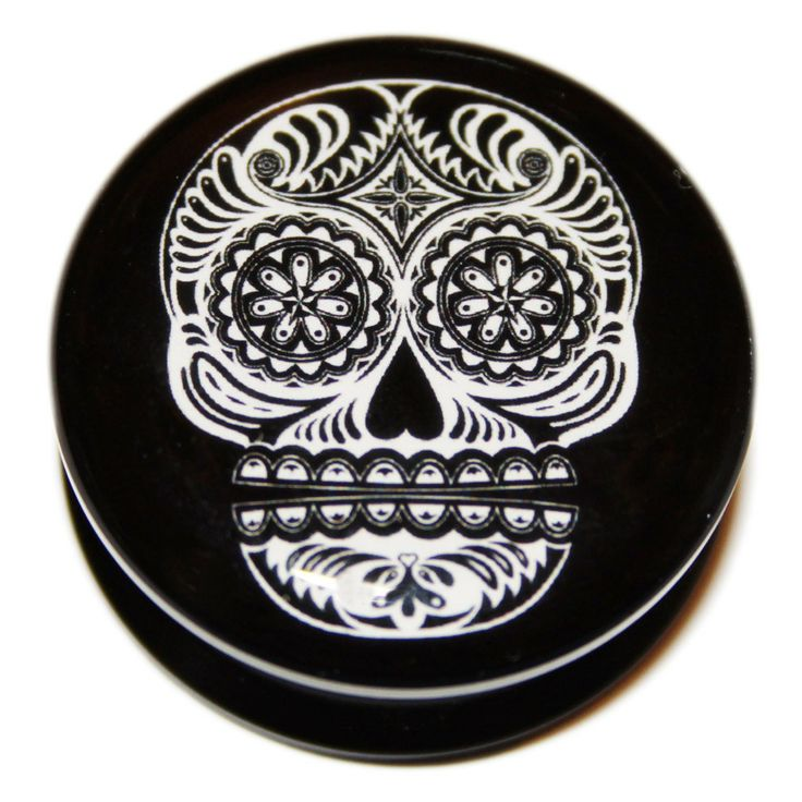 Just Eros Body Jewellery - Black and White Sugar Skull PMMA Acrylic Screw-Fit Flesh Plug, £5.49 (http://justeros.com/black-and-white-sugar-skull-pmma-acrylic-screw-fit-flesh-plug/)