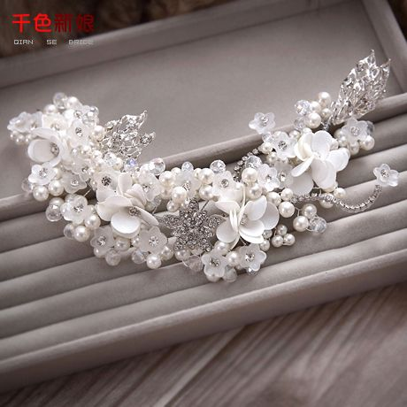 Elegante Haarband Crystal Vrouwen hoofdband bloemen voorhoofd Bridal parel Sieraden huwelijk diadeem Bruiloft accessoires yueying