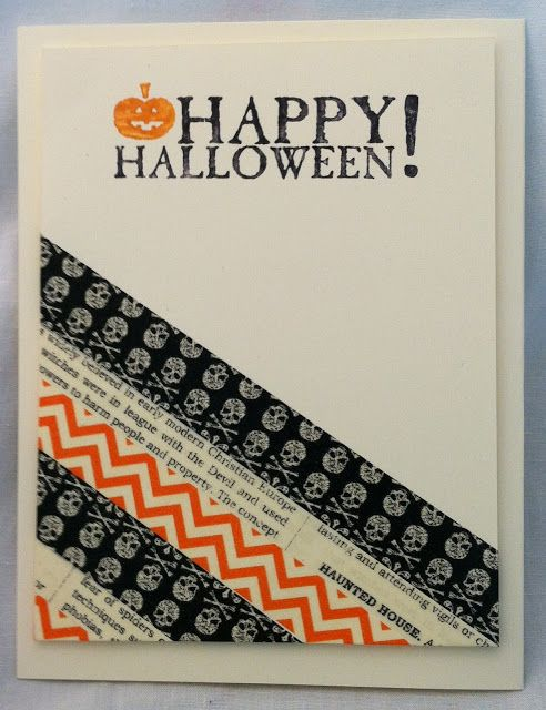 Halloween Cards To Make Ideas Part - 40: More Washi Tape! Or Paper Scraps! Use Your Favorite Small Bits As Diagonal  Stripes · Washi Tape CardsEasy ...