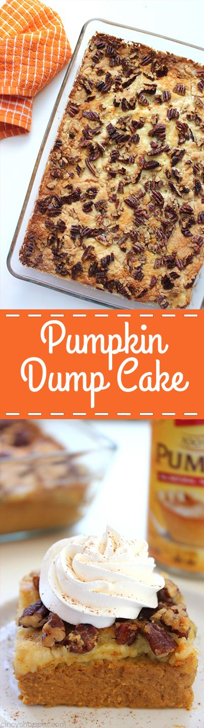 Pumpkin Dump Cake - Such an easy fall dessert. Just mix up your ingredients…