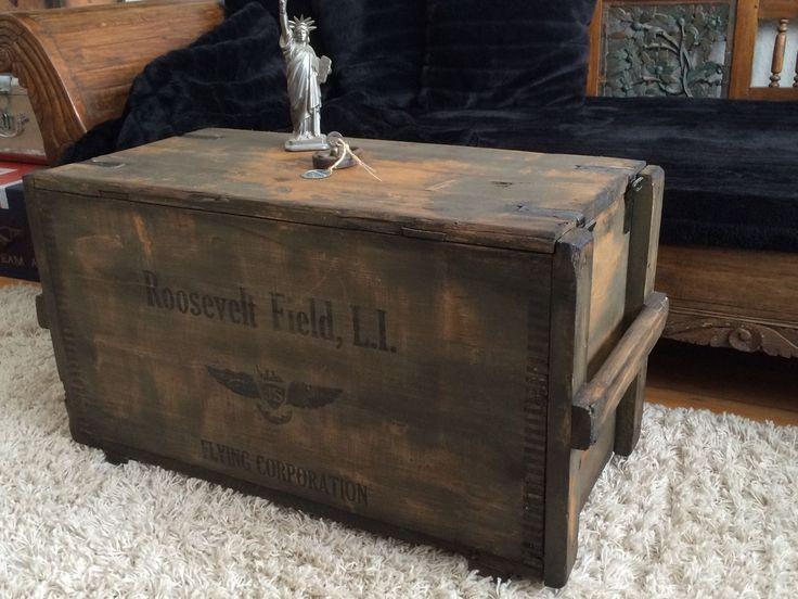 aviator trunk industrial loft design couchtisch truhe vintage - Vintage Wohnzimmertisch