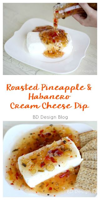 Roasted Pineapple and Habanero Cream Cheese Dip Recipe. Perfect #appetizer for a any party and football season! You only need 3 ingredients. Super simple snack to make.