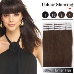16inch Straight Seamless Tape Hair 100% Human Remy Hair Extensions #4 Medium Brown 50g by Elizawigs. $35.95. * Lasting silky look and feel. * Superhold   Hair Extensions. * 100% premium quality human hair. * Wide and exciting range of colours,May be restyled using hot tools. Tape extensions are reusable, seamless hair extensions that are pre taped and made from high quality 100% human hair. It requires no adhesives on the scalp, no weaving, braiding, clips, bonding, chemicals, or...