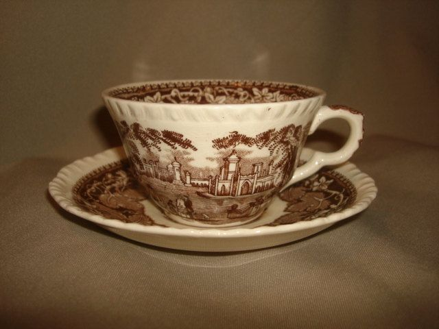Mason's Ironstone VISTA BROWN Tea Cups & Saucers 11 Available by PastPossessionsOnly on Etsy