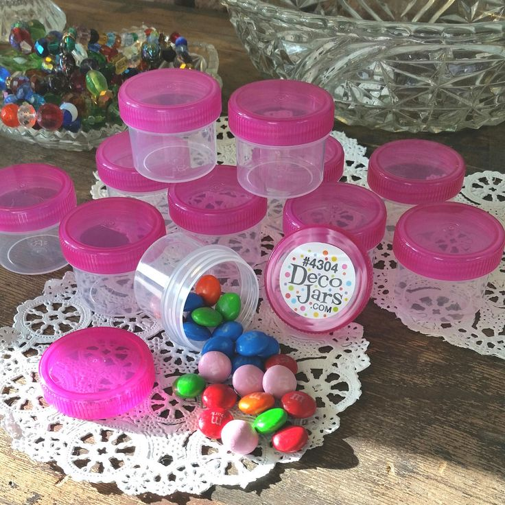 30 Plastic Jars 1oz Containers PINK Caps Party Favors candy nuts DecoJars 4304 * #DecoJars