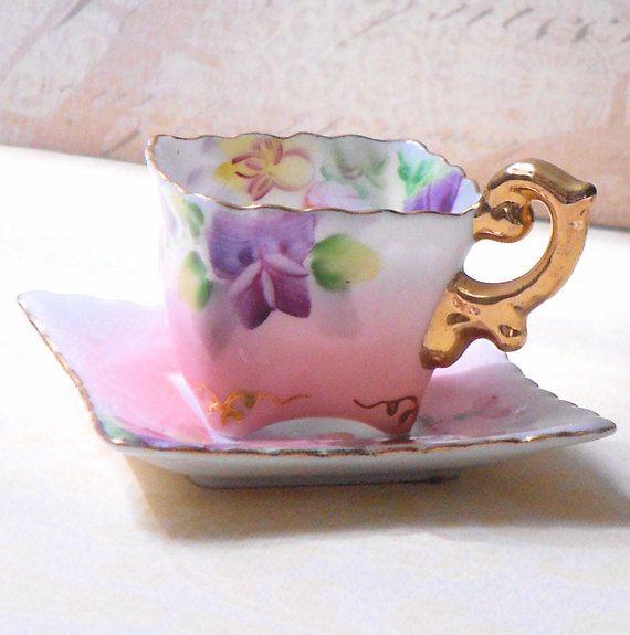 Vintage Miniature Bone China Tea Cup with Saucer