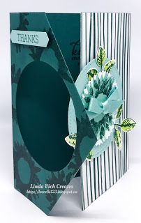 Linda Vich Creates: Painted Harvest Fancy Fold Flap Card. A delightful medley of Tranquil Tide, Lemon Lime Twist and Pool Party bring to life a Painted Harvest sunflower on this fancy flap card.