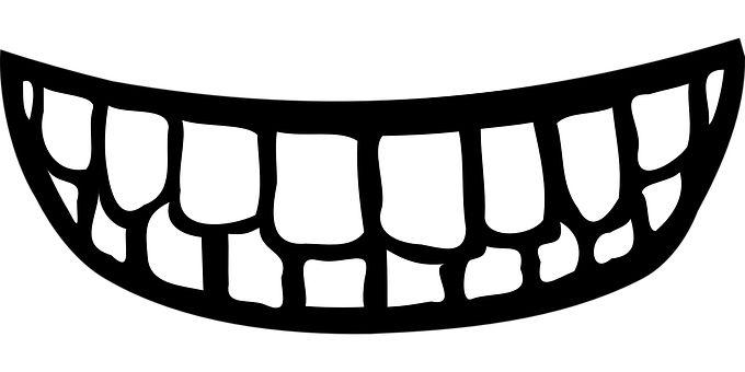 Zęby, Usta, Uśmiech, Czarno Biały