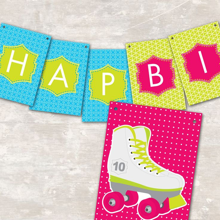 Neon Roller Skate Printable Birthday Party « Paper and Cake Paper and Cake