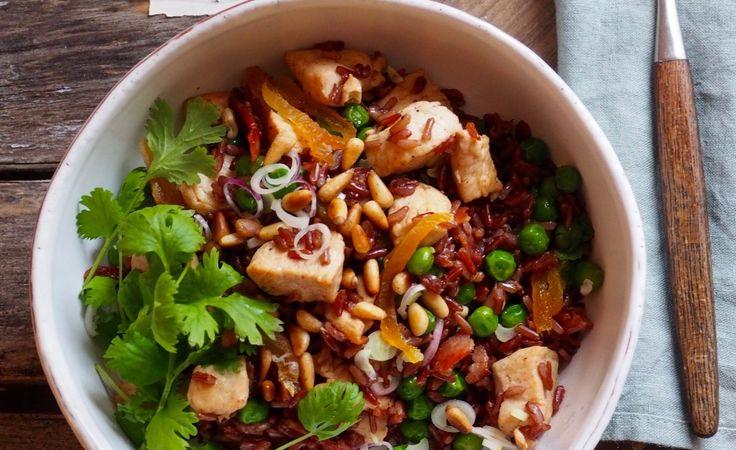 Ris med kylling og erter