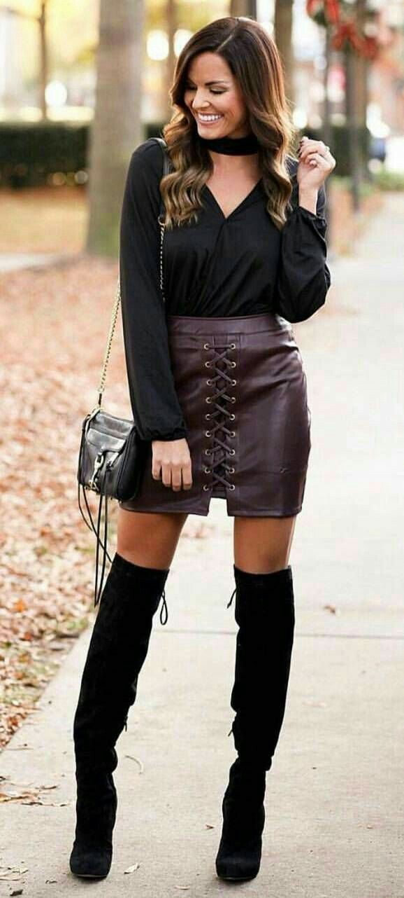 f3866ed1339c Sexy burgundy front laced leather skirt with black OTK boots ...