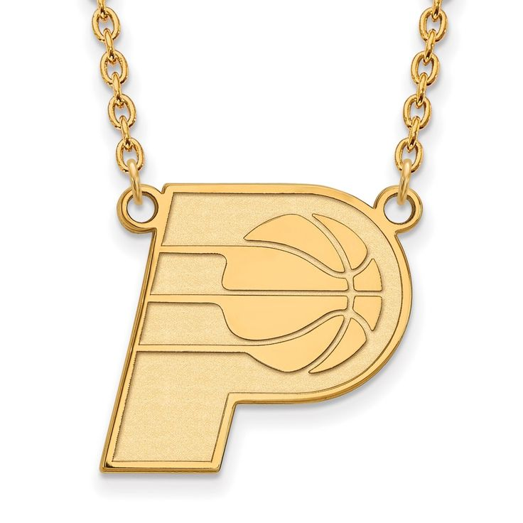 LogoArt 14 Karat Gold Indiana Pacers Pendant with Necklace