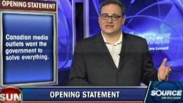 Ezra Levant is shown on the Sun News Network in this still image from video. Sun News Network went off the air Friday after negotiations to sell the troubled television channel were unsuccessful.