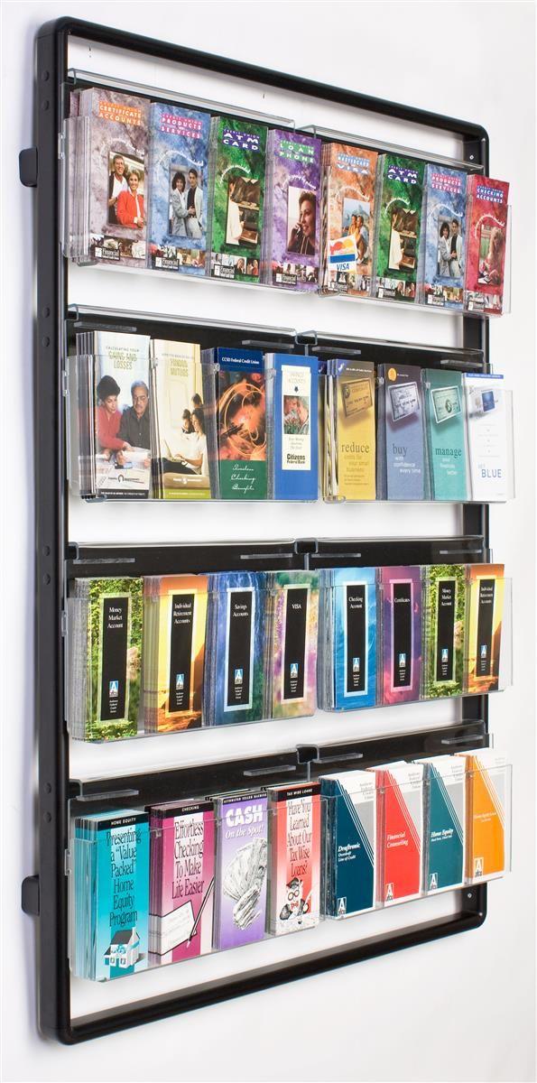 Literature Holder for Wall Mount, 32 Adjustable Pockets, Removable Dividers - Black