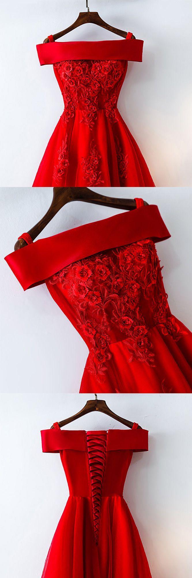 Kurze Schulterfrei rote Spitze Brautkleid – $ 109 # MYX18171 – SheProm.com