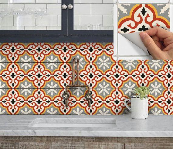 Tuile vinyle autocollant autocollant de mur pour cuisine bain escalier-Riser imperméable et amovible Peel Stick n: Marrakech Orange
