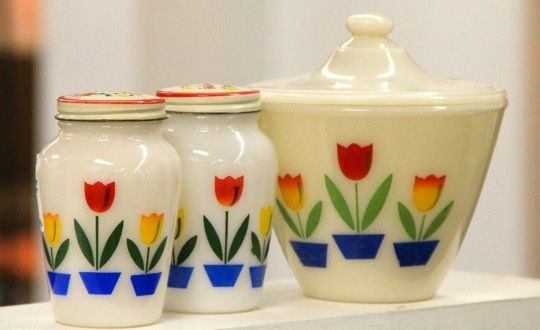 Vintage Fire King Tulip Salt And Pepper Shakers With