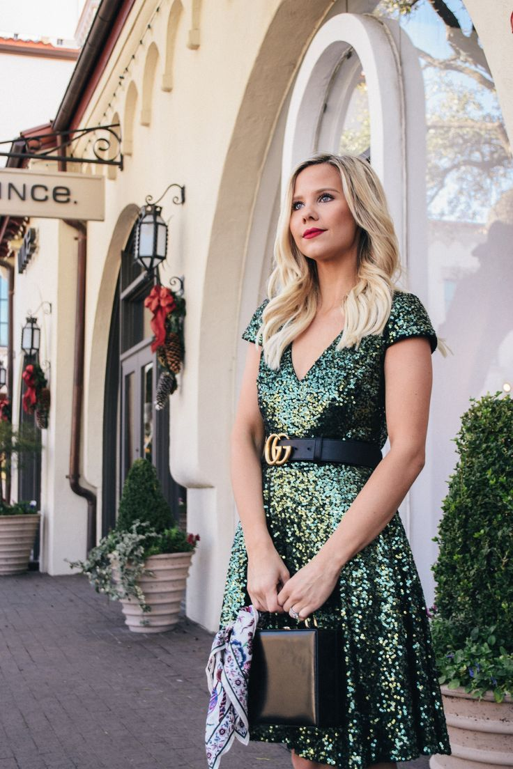 e5843593c8f Green Sequins Dress with Gucci Belt #nyeoutfit #christmasdress  #christmasoutfit