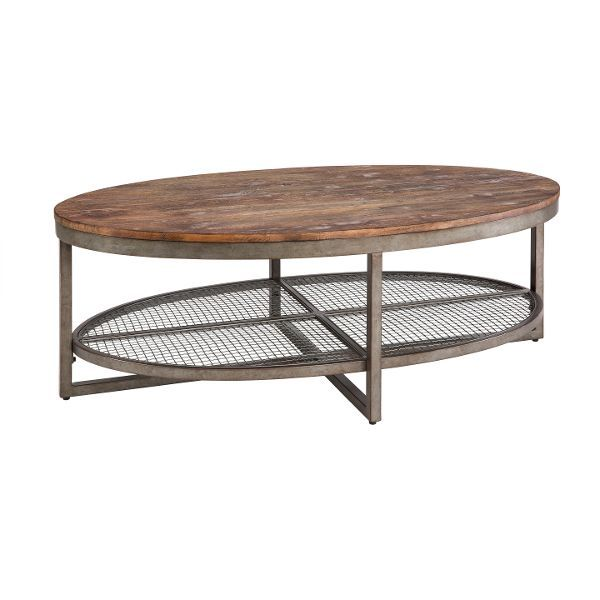 Wood U0026 Metal Rustic Oval Coffee Table   Ink+Ivy Sheridan