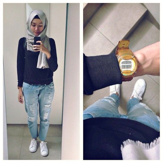 ootd - hijab outfit lookbook.nu/syaifiena Syaifiena W - H&M Sweatshirt, Cotton Ink Ripped Jeans, Baby G Watch, Adidas Sneakers - Ripped Jeans