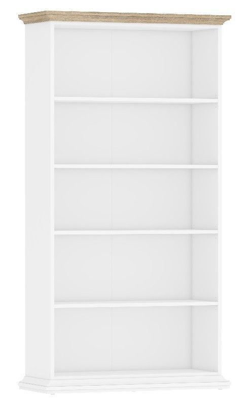 Paris Reol - Hvid - Enkel og klassisk reol i hvidmalet træ, som gør, at den passer ind i de fleste boliger. Toppen er ikke malet, og den skaber derfor en fin kontrast til de hvide hylder. Reolen har fem hylder, så der er god plads til bøger og pynteting.