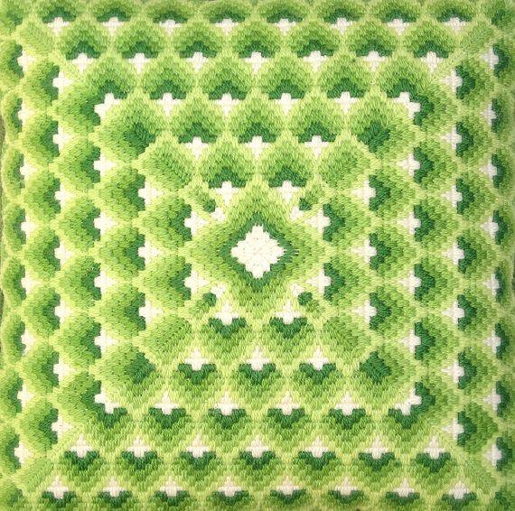 Bargello Needlepoint Pillow 1970s Vintage Green Hearts