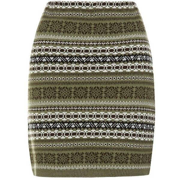 Khaki Aztec Print Knitted Skirt (38 SAR) ❤ liked on Polyvore featuring skirts, mini skirts, body con skirt, aztec skirt, mini skirt, aztec bodycon skirt and aztec pattern skirt