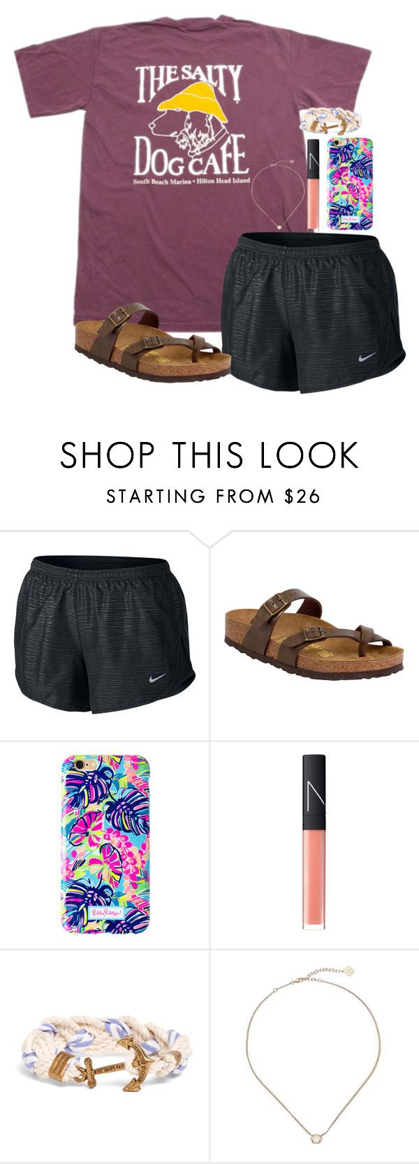 """Southern comfort"" by northernprepgirl ❤ liked on Polyvore featuring NIKE, Birkenstock, Lilly Pulitzer, NARS Cosmetics, Brooks Brothers and Kendra Scott"