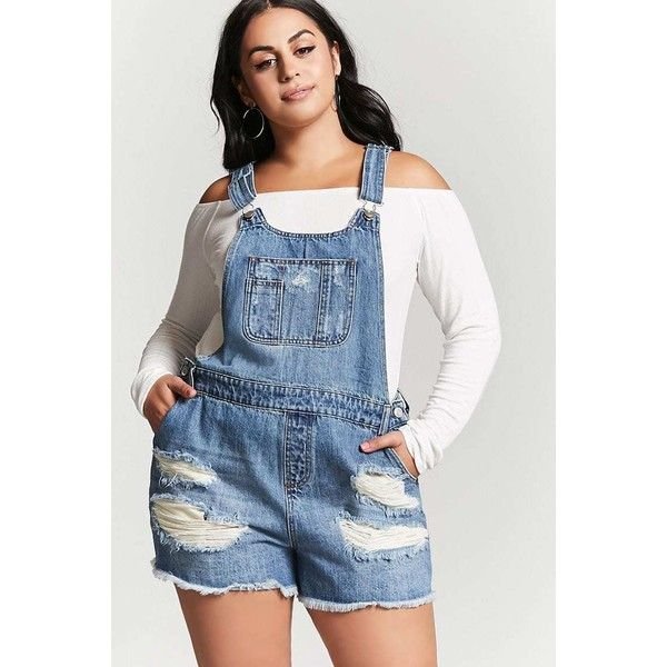 Forever21 Plus Size Denim Overall Shorts ($33) ❤ liked on Polyvore featuring plus size women's fashion, plus size clothing, plus size shorts, denim, short overalls, denim short overalls, bib overall shorts, denim shorts and overalls shorts