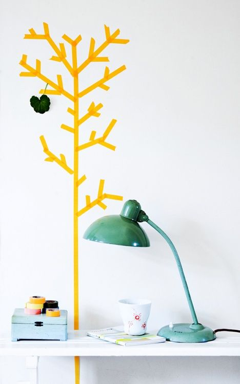 Stylized masking tape tree via For Interieur