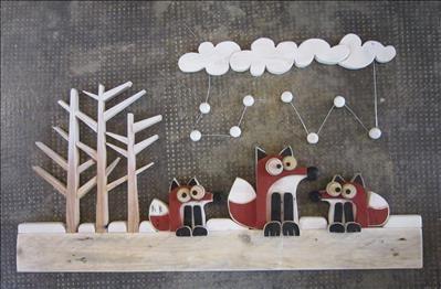 Oggetti artistici in legno riciclato fatti a mano. Paesaggi