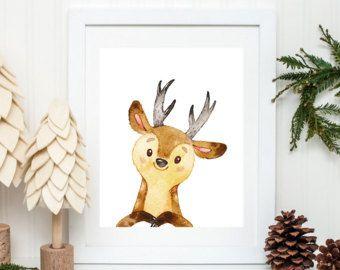 Impresión de ciervo asta de ciervo decoración Woodland arte