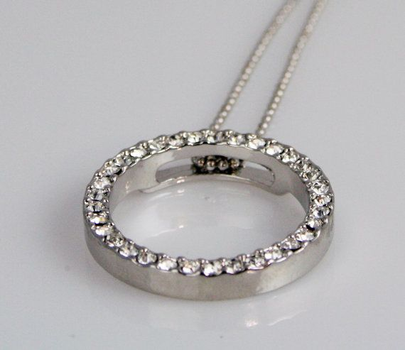 Circle Pendant - Brilliant Austrian Crystal with Silver Rhodium Chain on Etsy, $24.95